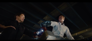 Tony and Rhody Attempt to lift Thor's hammer