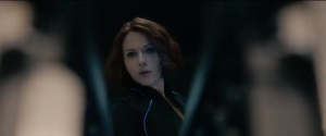 Black Widow staring
